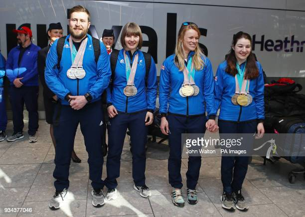ParalympicsGB medalists' Millie Knight and guide Brett Wild with Menna Fitzpatrick and her guide Jennifer Kehoe pose for a photo as the team arrive...