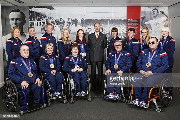 ParalympicsGB ski and curling athletes with Prince Edward Earl of Wessex gather to celebrate their performances at the Sochi 2014 Winter Paralympics...