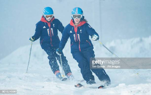 ParalympicsGB skiers Jennifer Kehoe and Menna Fitzpatrick during the ParalympicsGB 2018 Winter Olympics Alpine Skiing and Snowboard team announcement...