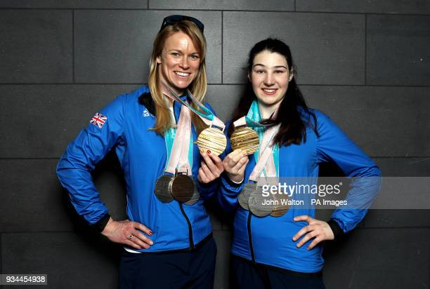 ParalympicsGB's Menna Fitzpatrick and her guide Jennifer Kehoe with their Gold 2 Silver and Bronze medals as the team arrive at Heathrow Airport...