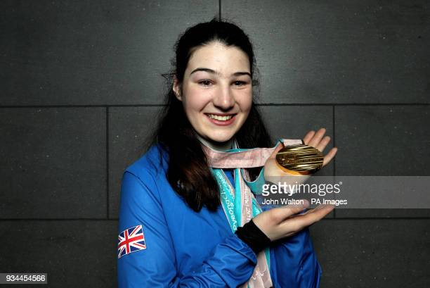ParalympicsGB's Menna Fitzpatrick with her Gold 2 Silver and Bronze medals as the team arrive at Heathrow Airport London following the PyeongChang...