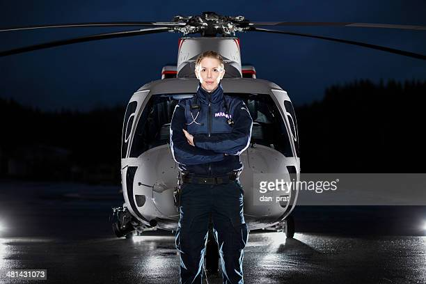 paramedic and medevac helicopter - medevac stock photos and pictures