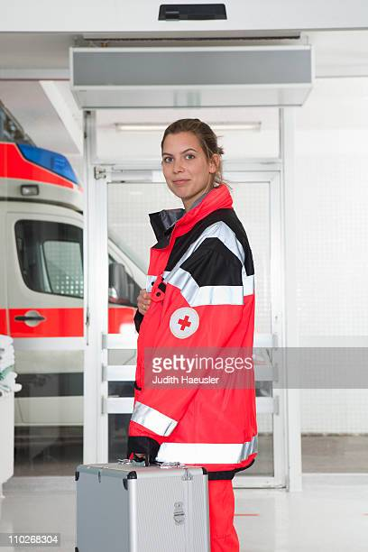 Paramedic girl in hall, smiling