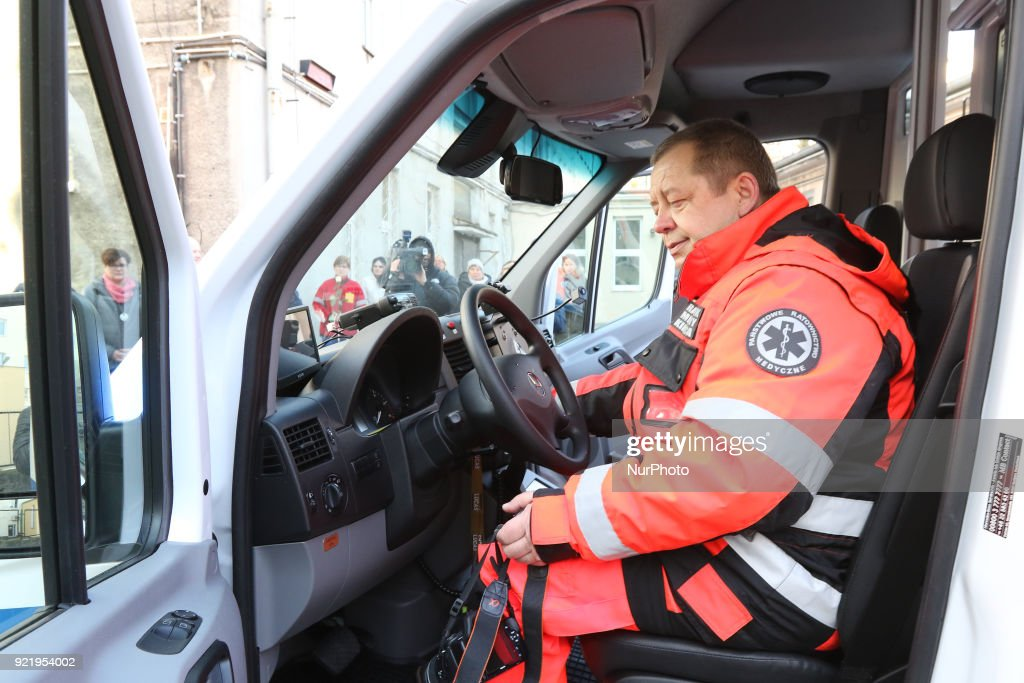 Paramedic inside the new ambulance is seen in Gdynia, Poland on 21 February 2018 New Mercedes Sprinter ambulance costed over 100.000 Euro, and is 18th ambulance in the Gdynia Emergency Medical Services fleet.