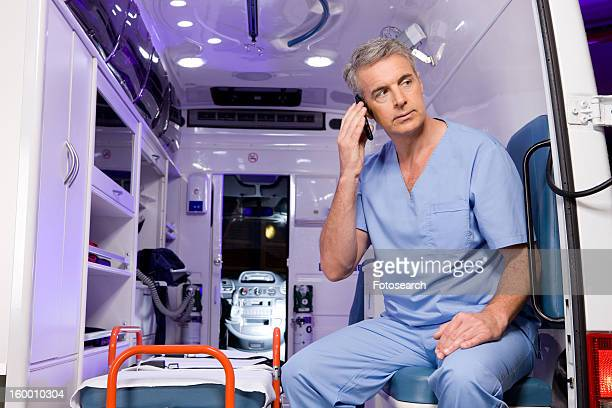 Paramedic on a phone