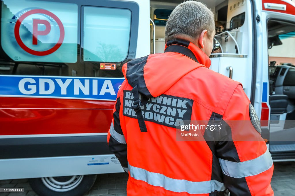 Paramedic outside the new Mercedes Sprinter ambulance is seen in Gdynia, Poland on 21 February 2018 New Mercedes Sprinter ambulance costed over 100.000 Euro, and is 18th ambulance in the Gdynia Emergency Medical Services fleet.