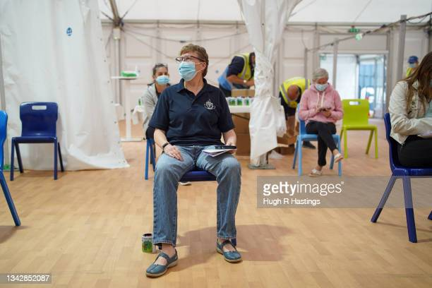 Paramedic Sarah Watson, the last person to be vaccinated at the Stithians Showground temporary NHS vaccination centre on September 26, 2021 in...