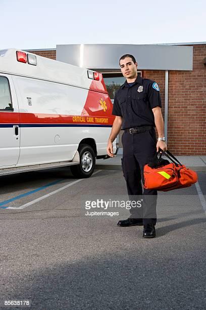 Paramedic with bag