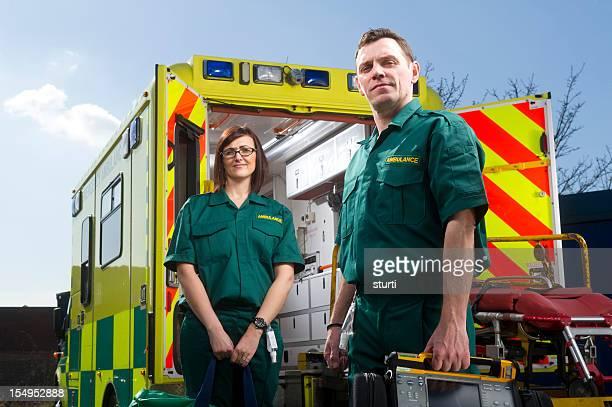 Paramedics and ambulance