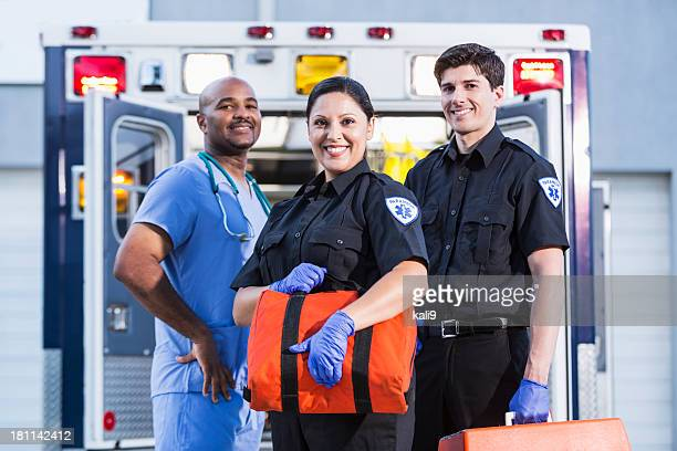 paramedics and doctor outside ambulance - rescue services occupation stock pictures, royalty-free photos & images