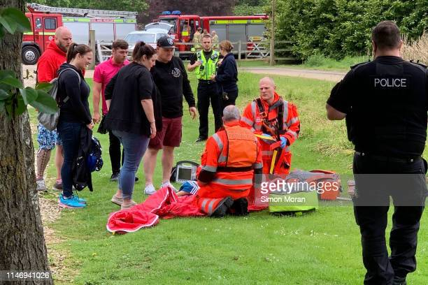 Paramedics attend to a boy who fell from a roller coaster at Lightwater Valley theme park on May 30 2019 in North Stainley England The boy was...