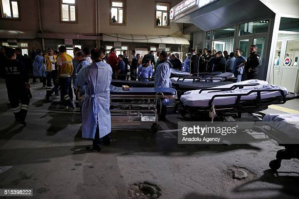 Paramedics wait outside the Ankara Numune Hospital after an explosion hit Ankara's central Kizilay neighborhood on March 13 2016 According to initial...
