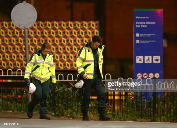 Paramedics working at Victoria Railway Station close to the Manchester Arena on May 23 2017 in Manchester England An explosion occurred at Manchester...