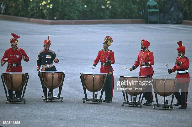 Paramilitary band contingents perform during the rehearsal of Beating Retreat Ceremony at Vijay Chowk on January 27 2017 in New Delhi India