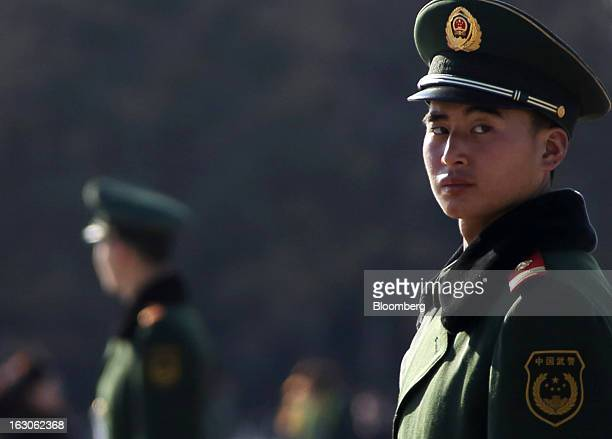 Paramilitary police officers stands guard at Tiananmen Square in Beijing China on Monday March 4 2013 Premier Wen Jiabao will this week formally...