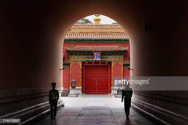 Paramilitary policemen patrol inside the Forbidden City which was the Chinese imperial palace from the midMing Dynasty to the end of the Qing Dynasty...