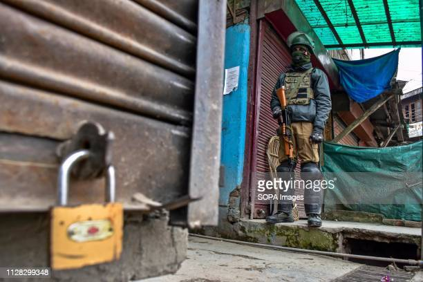 SRINAGAR JAMMU KASHMIR INDIA A paramilitary trooper seen standing guard during restrictions in Srinagar Kashmir Authorities on imposed restrictions...