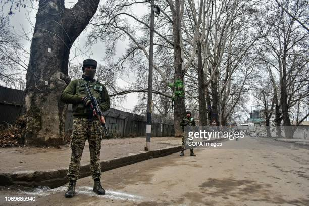 Paramilitary troopers seen standing guard during a strike called by separatist groups on India's Republic Day in Srinagar Indian administered Kashmir...