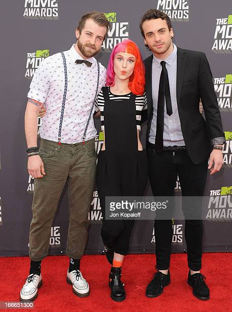 Paramore arrives at the 2013 MTV Movie Awards at Sony Pictures Studios on April 14 2013 in Culver City California