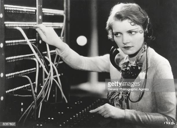 Paramount film star Peggy Shannon as a telephone switchboard operator in a scene from the film 'The Secret Call' directed by Stuart Walker