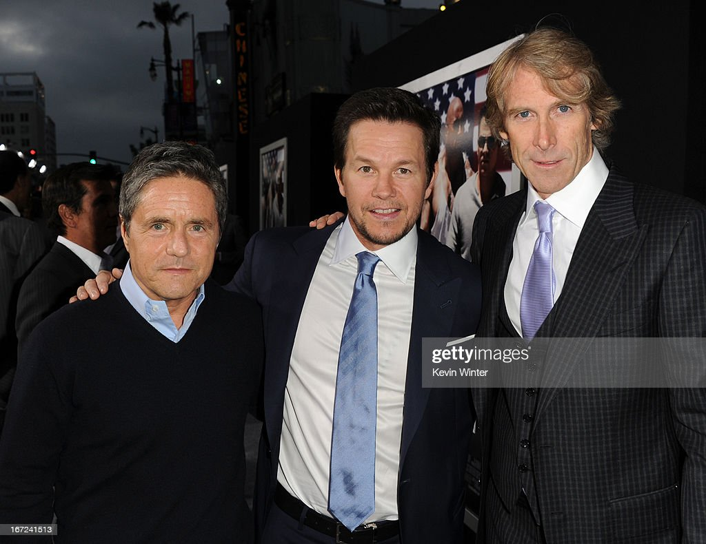 Paramount Pictures Chairman & CEO Brad Grey, actor Mark Wahlberg, and director Michael Bay arrive at the premiere of Paramount Pictures' 'Pain & Gain' at TCL Chinese Theatre on April 22, 2013 in Hollywood, California.