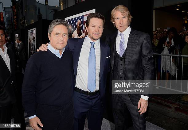 Paramount Pictures Chairman CEO Brad Grey actor Mark Wahlberg and director/producer Michael Bay arrive at the premiere of Paramount Pictures' Pain...
