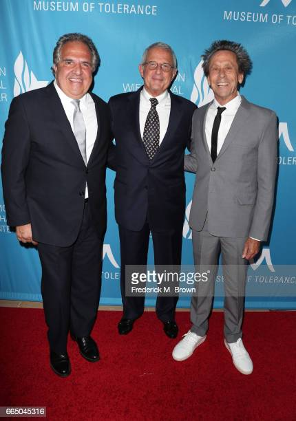 Paramount Pictures Chairman CEO Jim Gianopulos NBCUniversal Vice Chairman Ron Meyer and producer Brian Grazer attend The Simon Wiesenthal Center's...