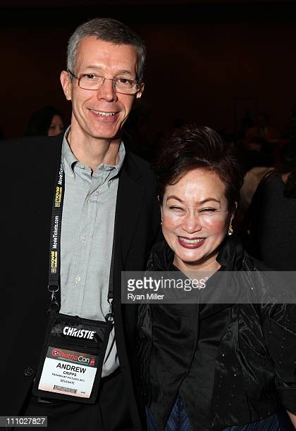 Paramount Pictures' international president Andrew Cripps and CJ Group vice chairman Miky Lee attend CinemaCon 2011 at The Colosseum of Caesars...