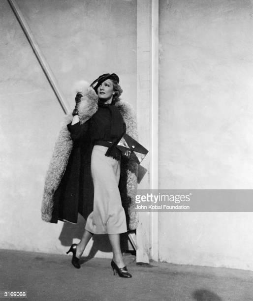 Paramount star Marlene Dietrich in street clothes.