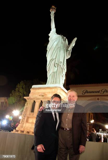 """Paramount's Brad Grey and Viacom's Sumner Redstone pose at the premiere of Paramount Picture's """"Cloverfield"""" at the Paramount Pictures Lot on January..."""
