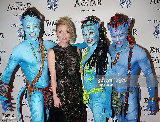 'Paramour' star Ruby Lewis poses with performers from 'Toruk' at the Opening Night for the New York Premeire of Cirque Du Soleil's 'Toruk' inspired...