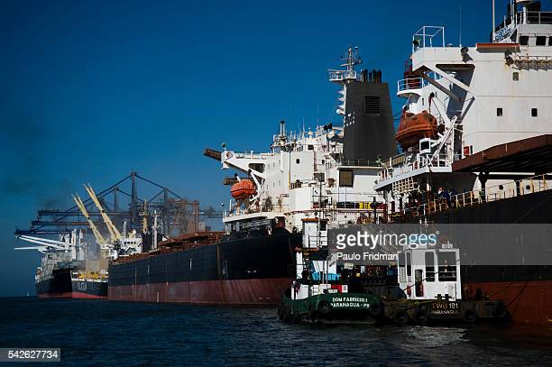 Paranagua Port, state of Parana in Brazil, the sixth largest port in the world, the second largest in Brazil and the largest grain port of Latin...
