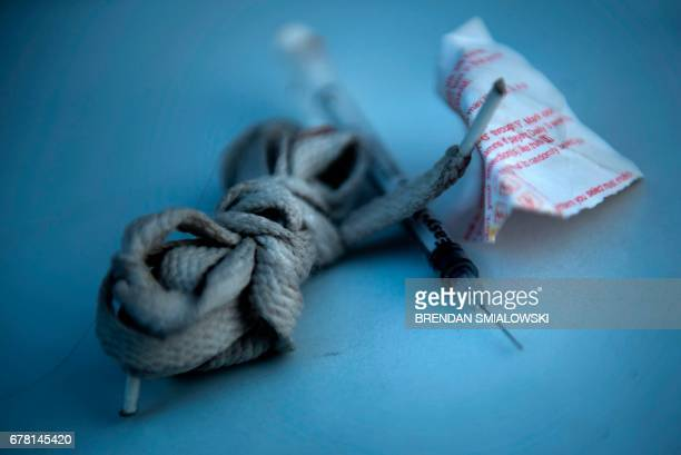 Paraphernalia for injecting drugs is seen after being found during a police search on April 19 2017 in Huntington West Virginia Huntington the city...