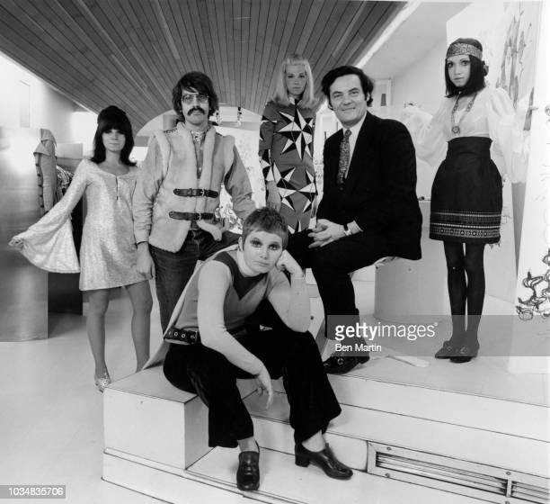 Paraphernalia President Paul Young and fashion designers Mike Mott and Betsy Johnson with three models May 28 1968
