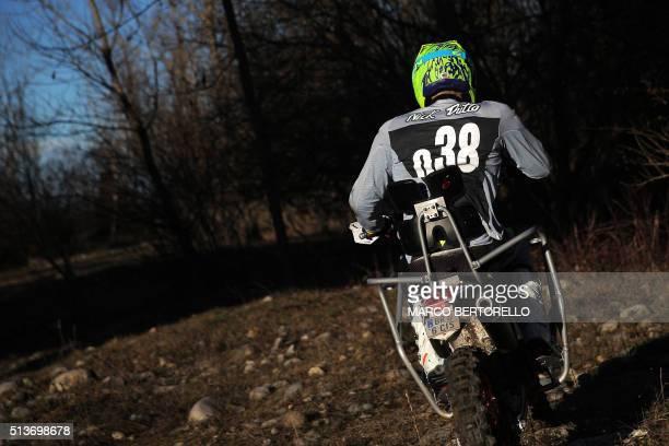 Paraplegic professional rider Nicola Dutto rides during a training on March 3 2016 in Castelletto Stura near Cuneo northern Italy Nicola Dutto...