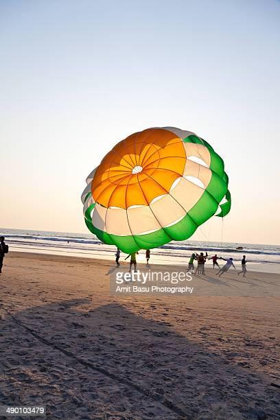Parasailing on beach. Benaulim, Goa, India