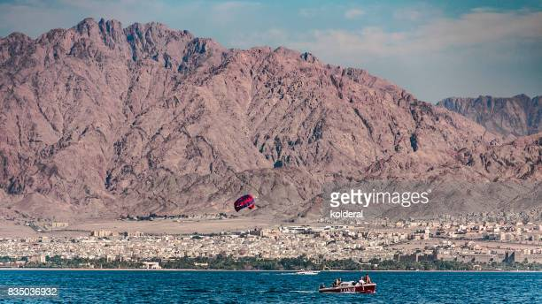 Parasailing with View of Aqaba, red sea and mountains