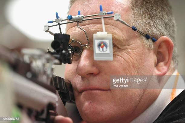 ParaShooter Greg Reid sights his target at the Mt Eden Shooting Range following the selection announcement of the New Zealand ParaShooting team for...