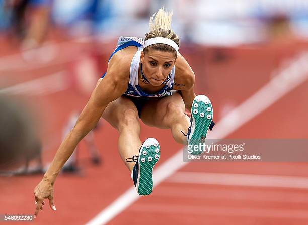 Paraskev Papahristou of Greece winning 3rd place in the women's triple jump finals at the Olympic Stadium during Day Five of the 23rd European...