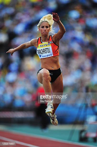 Paraskevi Papachristou of Greece competes in the Womens Triple Jump during the Aviva London Grand Prix at Crystal Palace on August 5 2011 in London...
