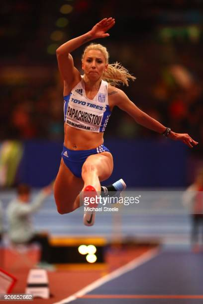 Paraskevi Papachristou of Greece during the Triple Jump Womens Final during the IAAF World Indoor Championships on Day Three at Arena Birmingham on...