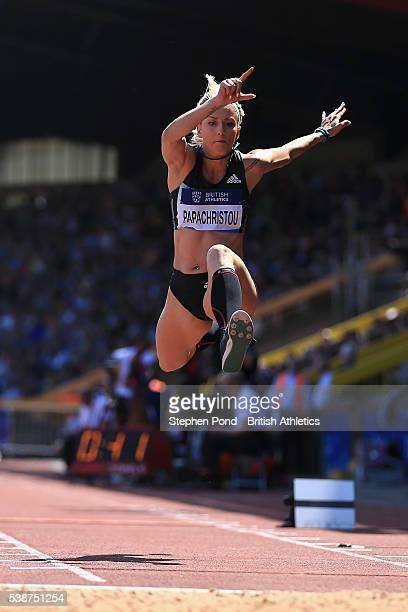 Paraskevi Papachristou of Greece in action in the Women's Triple Jump during the Birmingham Diamond League Athletics meeting at Alexander Stadium on...