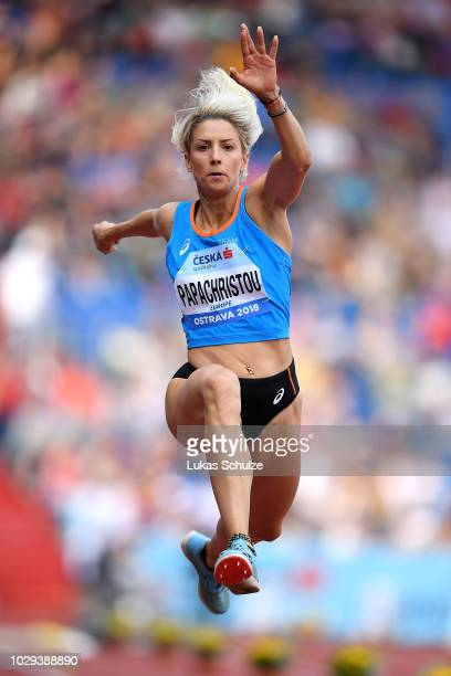 Paraskevi Papachristou of Team Europe competes in the Womens Triple Jump during day one of the IAAF Continental Cup at Mestsky Stadium on September 8...