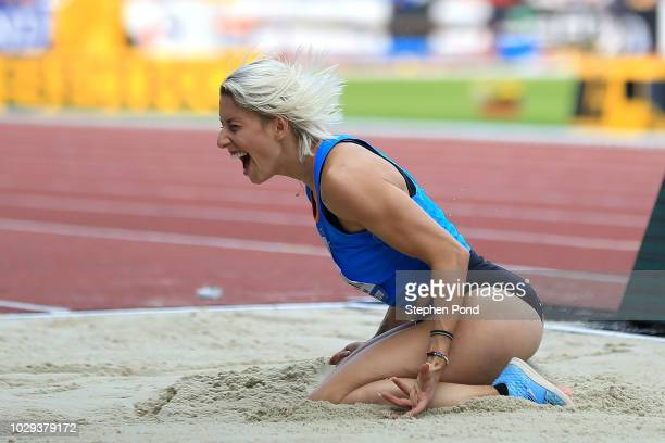 Paraskevi Papachristou of Team Europe reacts in the Womens Triple Jump during day one of the IAAF Continental Cup at Mestsky Stadium on September 8...