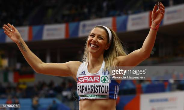 Paraskevi Papahristou of Greece celebrates after winning the bronze medal during the Women's Triple Jump final on day two of the 2017 European...