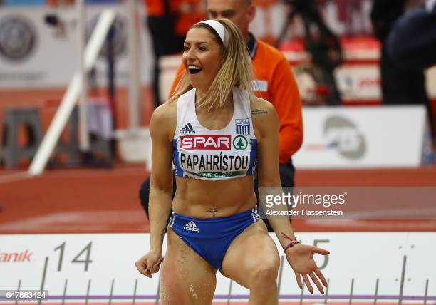 Paraskevi Papahristou of Greece celebrates during the Women's Triple Jump final on day two of the 2017 European Athletics Indoor Championships at the...
