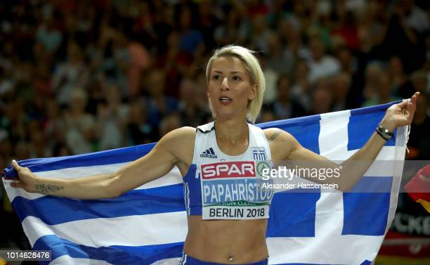 Paraskevi Papahristou of Greece celebrates winning Gold in the Women's Triple Jump Final during day four of the 24th European Athletics Championships...