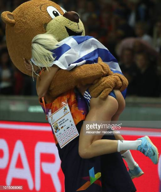 Paraskevi Papahristou of Greece celebrates with mascot Berlino after winning the Women's Triple Jump Final during day four of the 24th European...