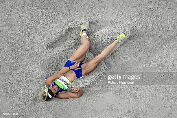 Paraskevi Papahristou of Greece competes during the Women's Triple Jump on Day 9 of the Rio 2016 Olympic Games at the Olympic Stadium on August 14...