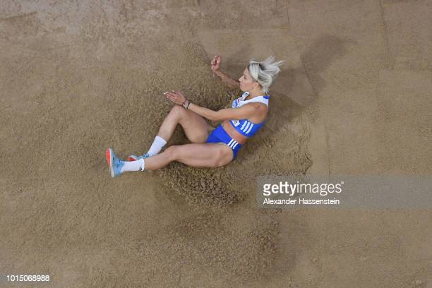 Paraskevi Papahristou of Greece competes in the Women's Triple Jump Final during day four of the 24th European Athletics Championships at...